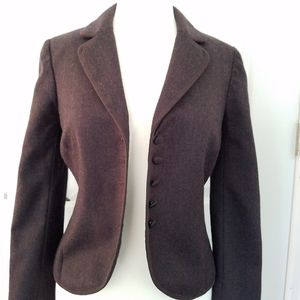 Rebecca Taylor Jacket Wool Brown Lace Bow Cuffs 8